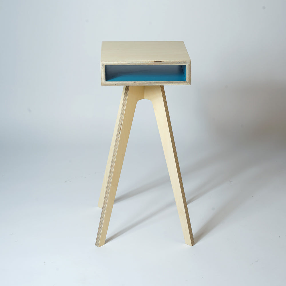mid century style furniture - plywood side table - tall teal