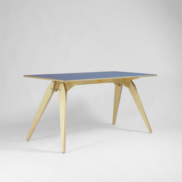 Wood and Wire Bob Desk Plywood Cornflower Lino