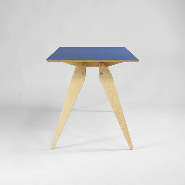 Mid Century Style Plywood Desk in Blue