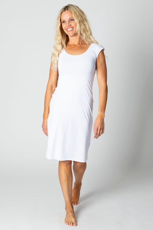honey of california honey slip best silky modest cap sleeve slip white