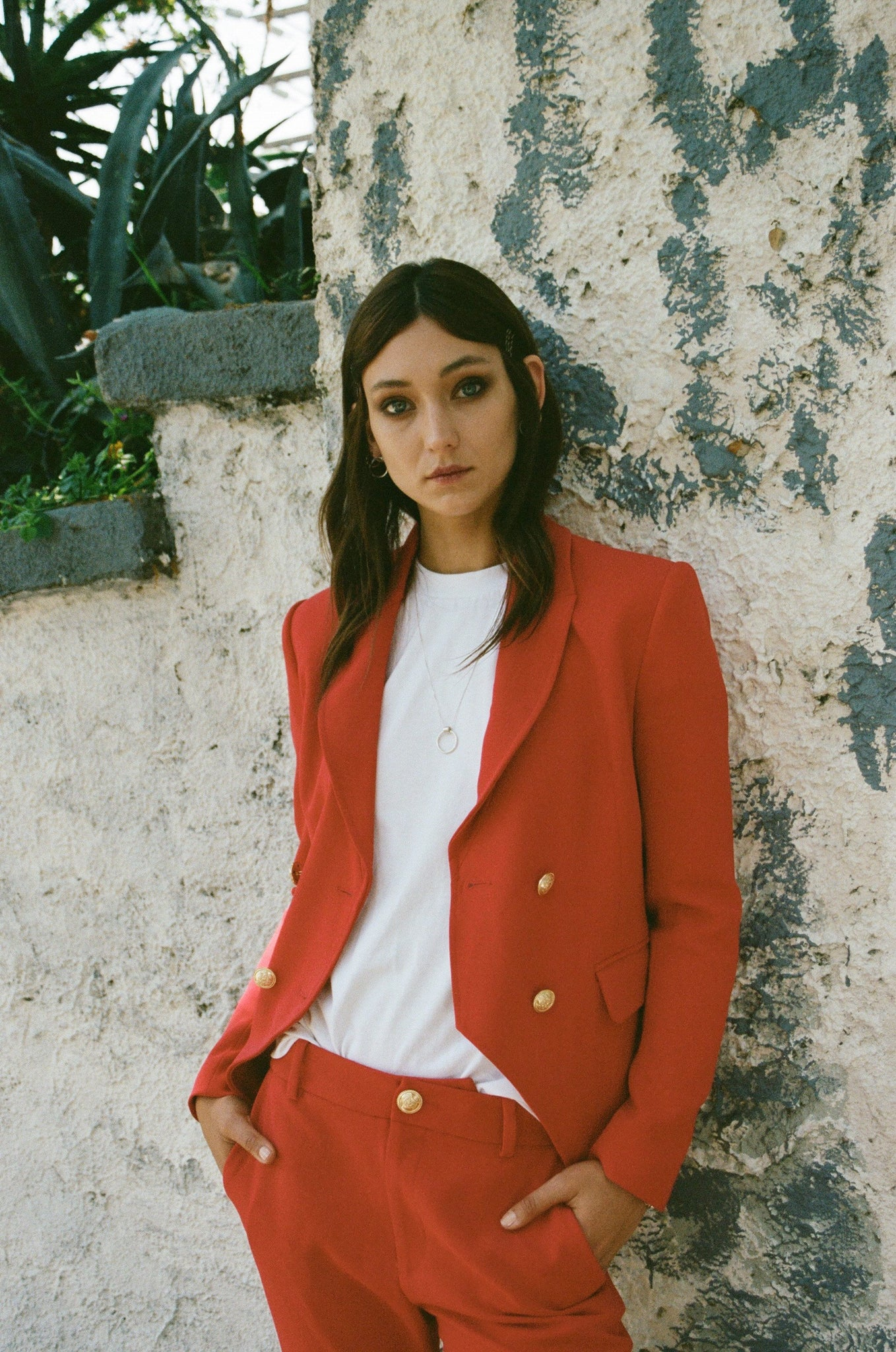 LAVEER CREPE KADETTE BLAZER IN RED