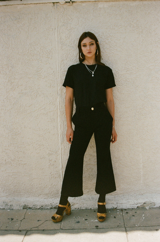 Cropped Flare Pant, Black