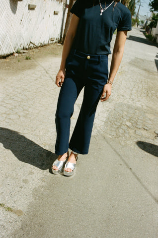 Cropped Flare Pant, Navy