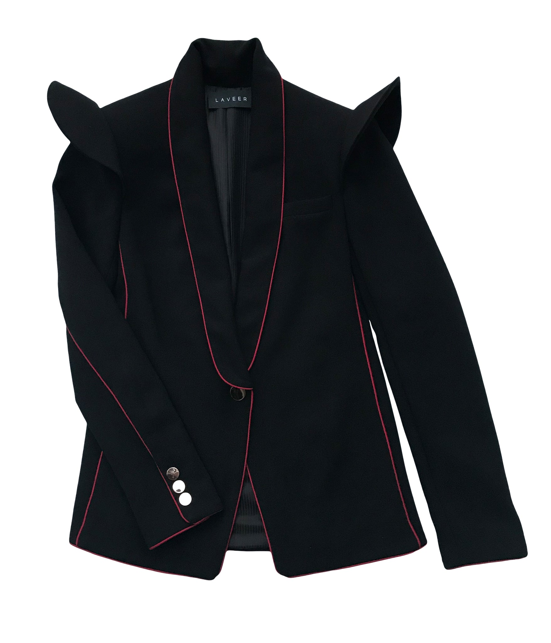 LAVEER Ruffle Tux Blazer In Black / Oxblood
