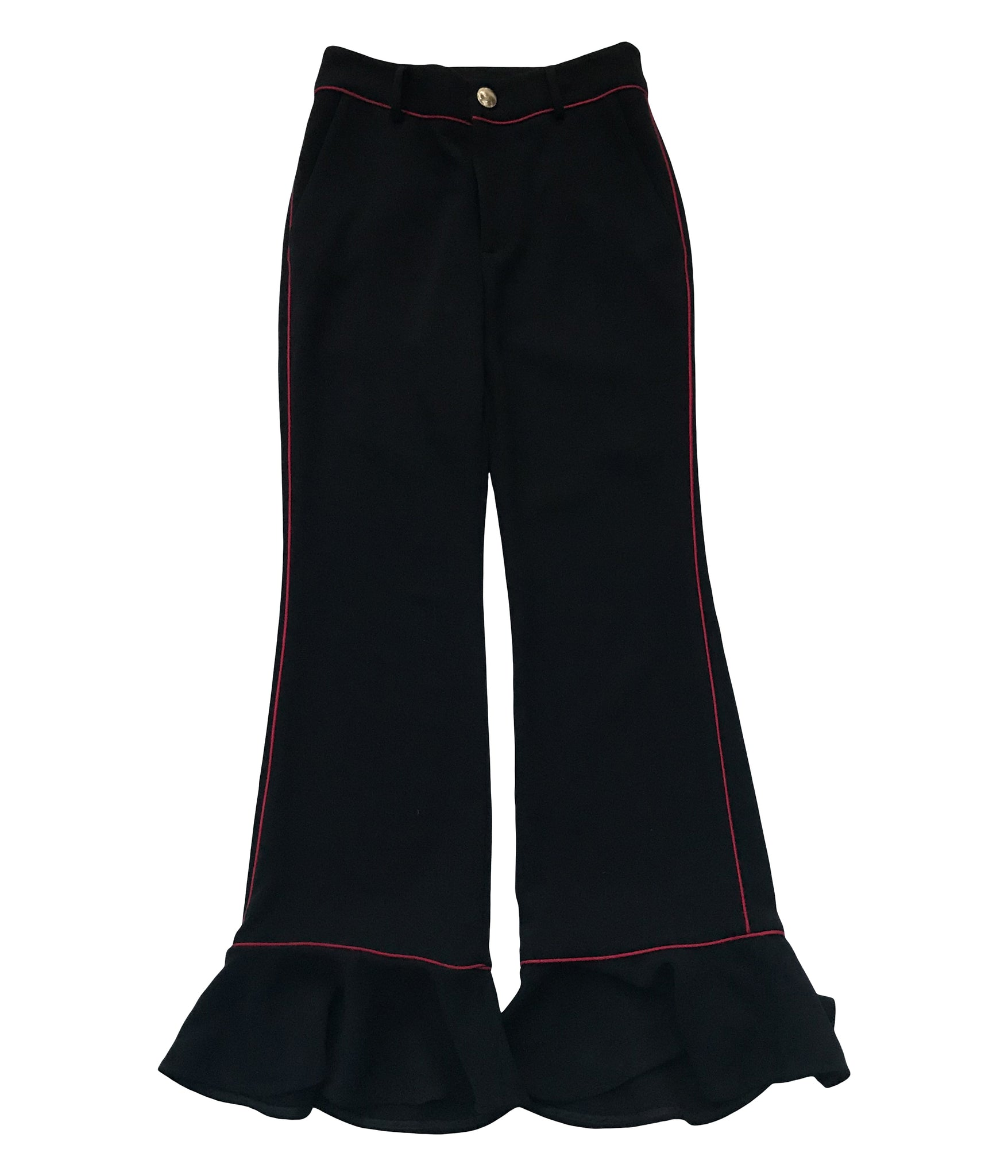LAVEER Ruffle Annie Trouser In Black / Oxblood