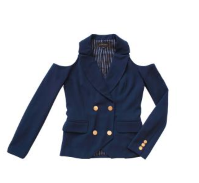 LAVEER OPEN SHOULDER KADETTE BLAZER IN NAVY