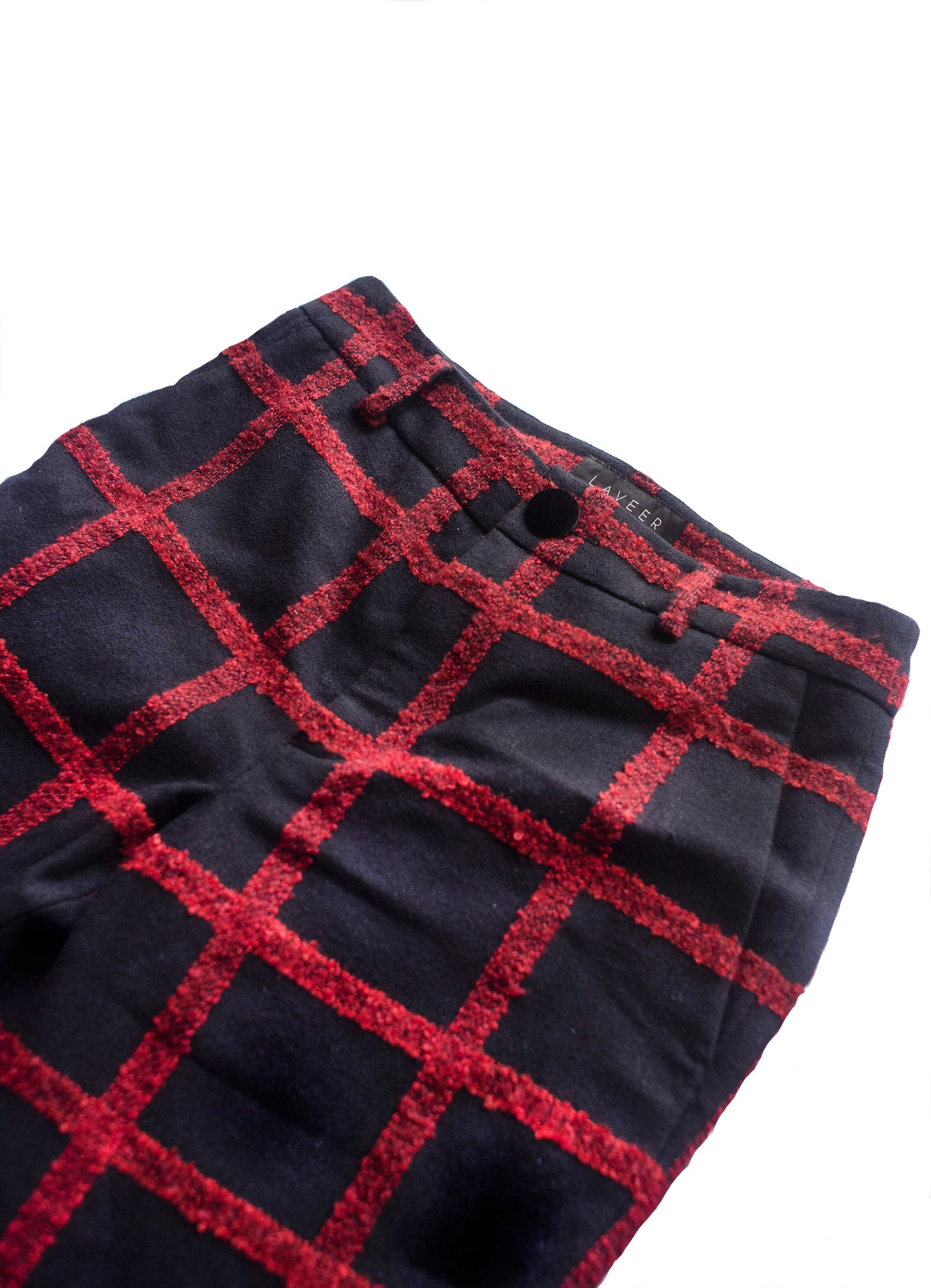LAVEER Annie Cropped Pant in navy and red tweed