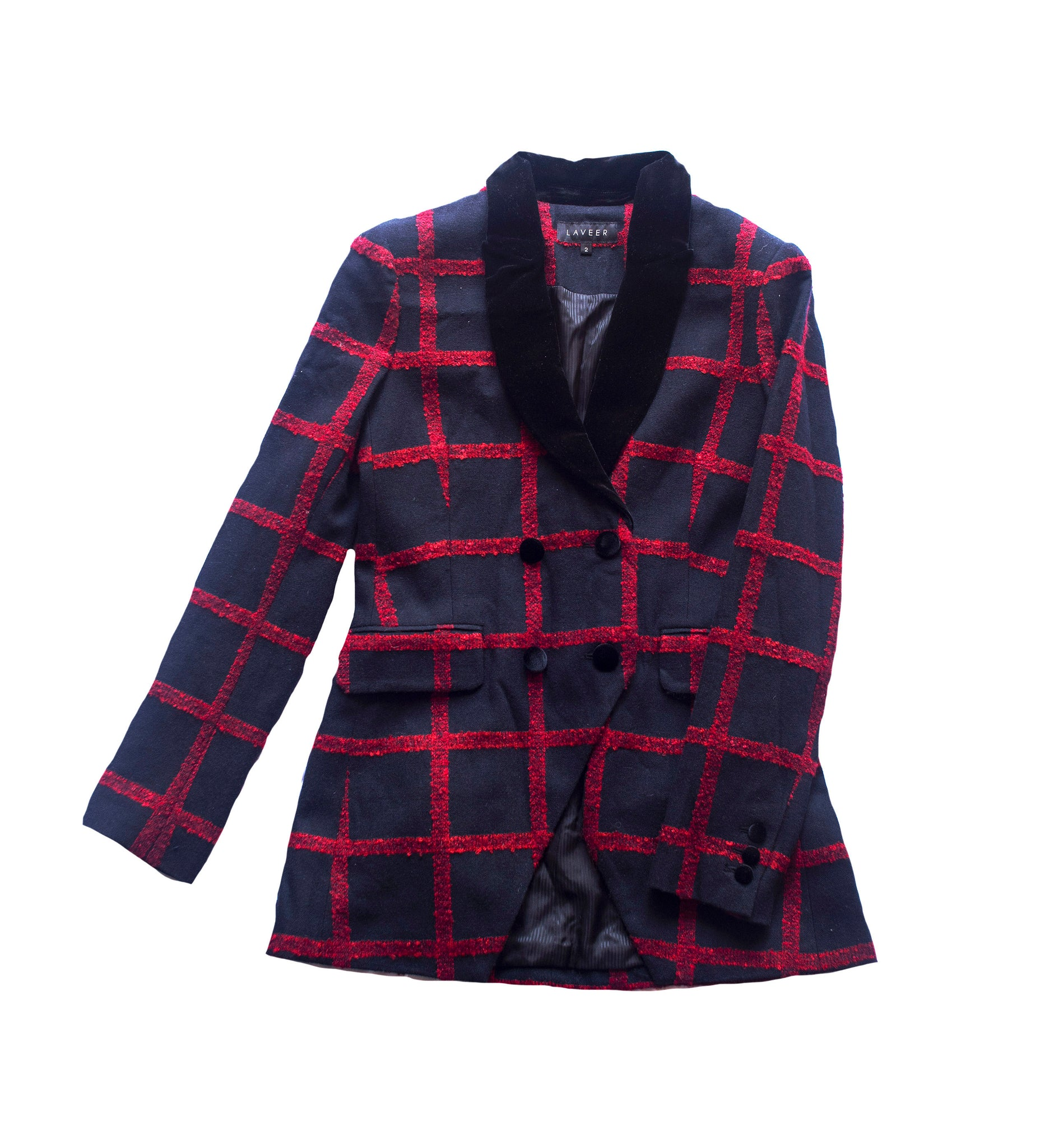 LAVEER LONG KADETTE BLAZER IN NAVY & RED CHECK