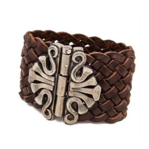 "Horseshoe Carval Bracelet - BROWN 1-1/4"" WIDE"