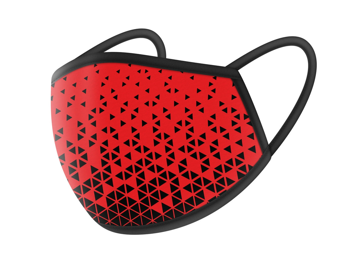 Red with Black Triangles Cloth Masks