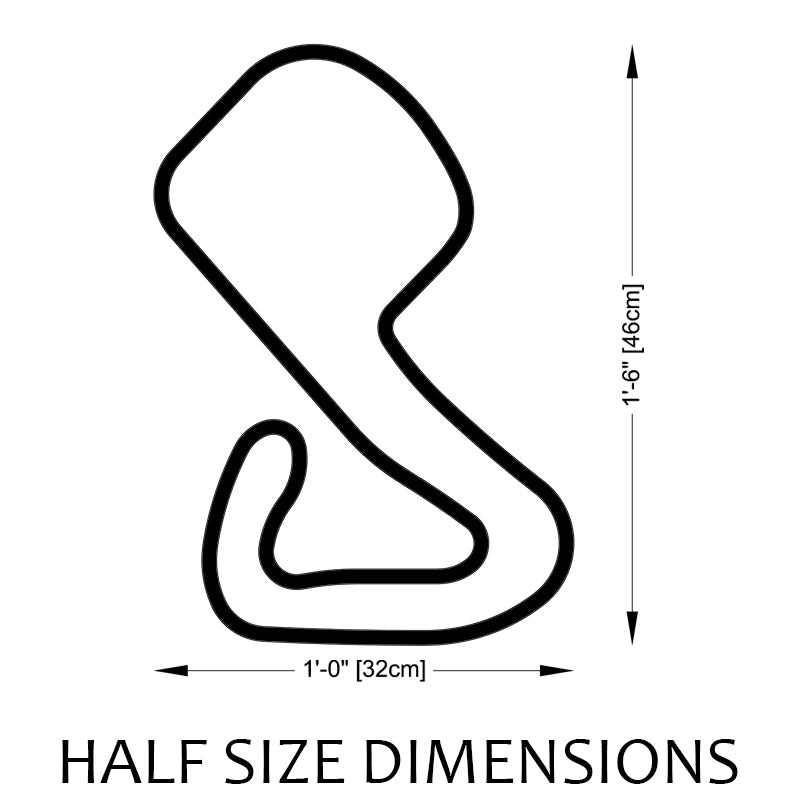 Brands Hatch Circuit Track Sculpture Half Size Dimensions