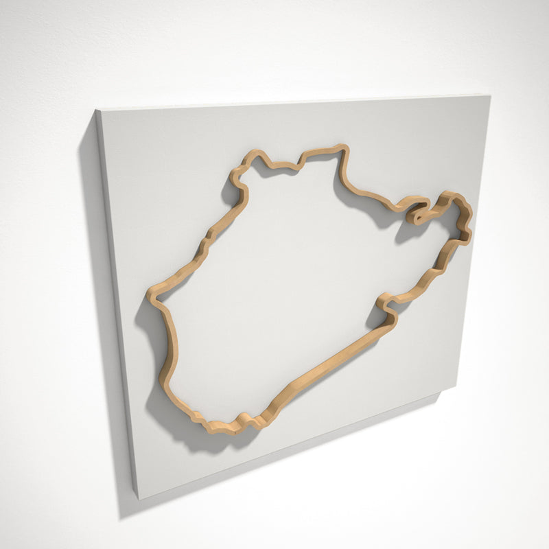 Nurburgring Nordschleife 3D Track Sculpture Tan White