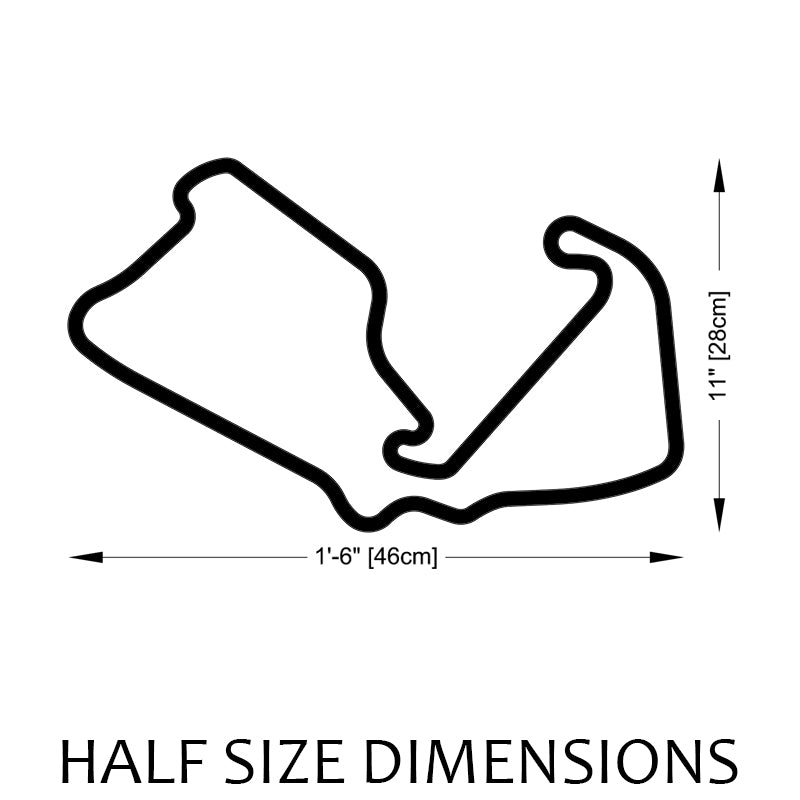 Silverstone Circuit Track Sculpture Half Size Dimensions