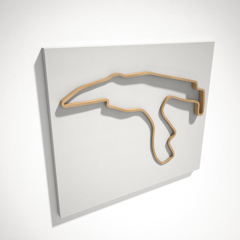 Spa Francorchamps Circuit 3D Track Sculpture Tan White