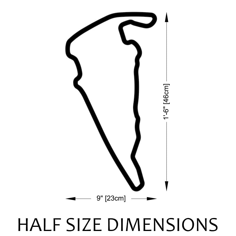 Virginia International Raceway | VIR Track Sculpture Half Size Dimensions