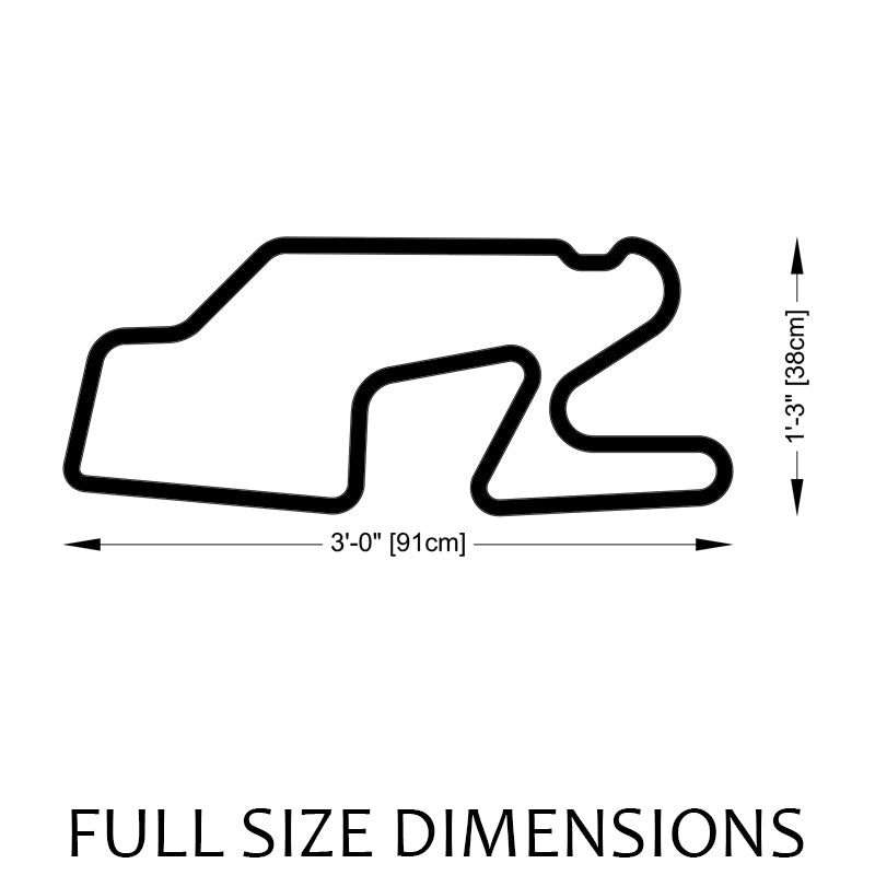 Watkins Glen International Track Sculpture Full Size Dimensions