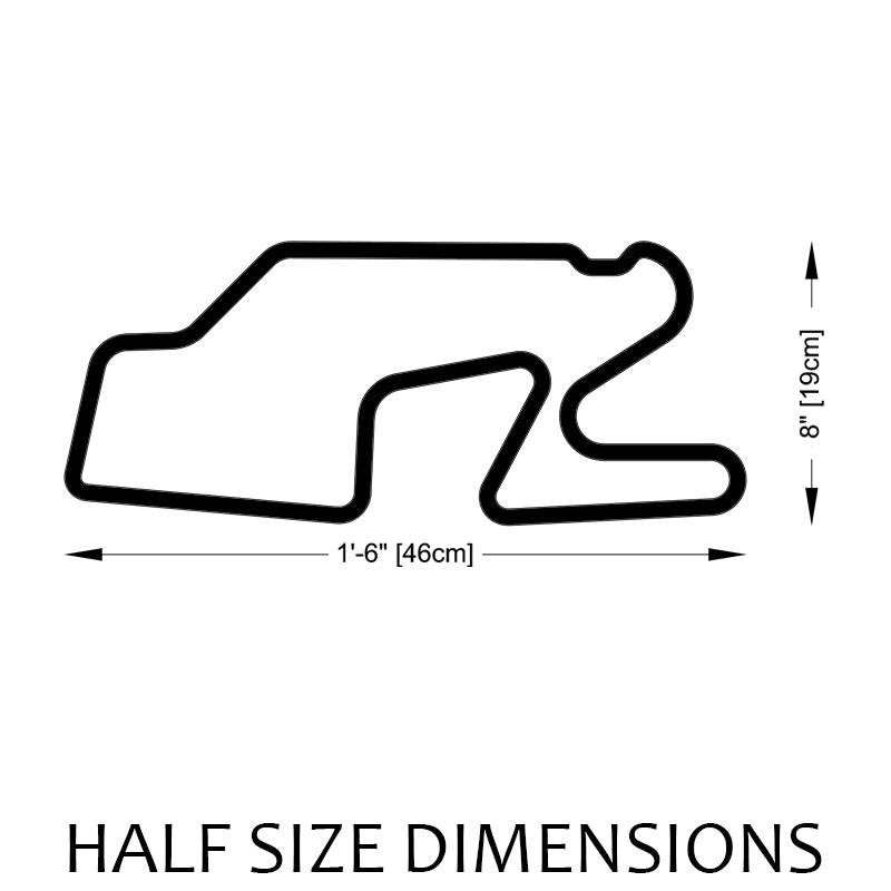 Watkins Glen International Track Sculpture Half Size Dimensions