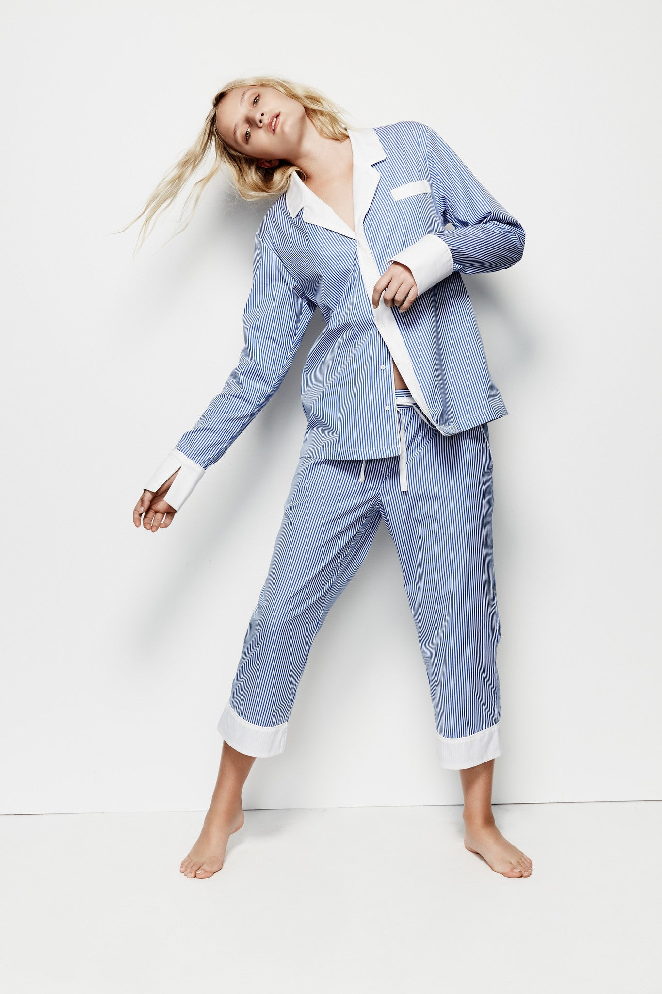 Mae 'Blue Stripe' Pyjama Shirt