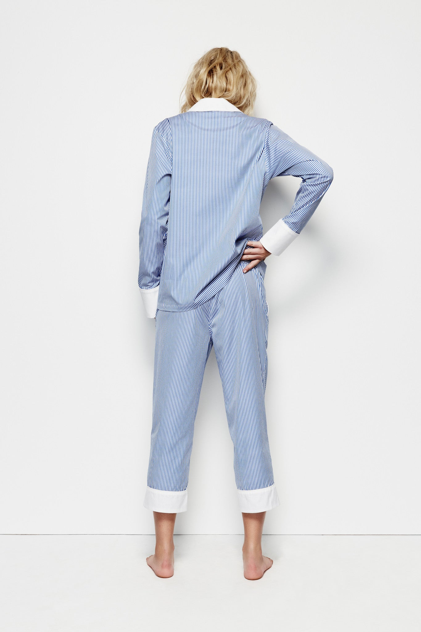 Jacqui 'Blue Stripe' Crop PJ Pant