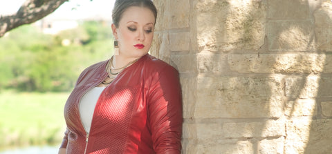 red leather plus size moto jacket