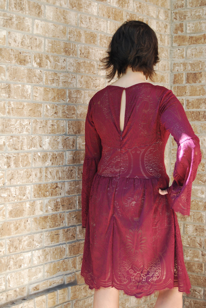 Layered Lace Burgundy Fit and Flare