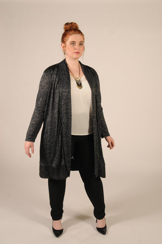 Marled Leather Trim Cardi