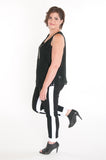 Black and white trimmed ankle pant