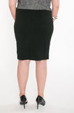 Black textured knit pencil skirt