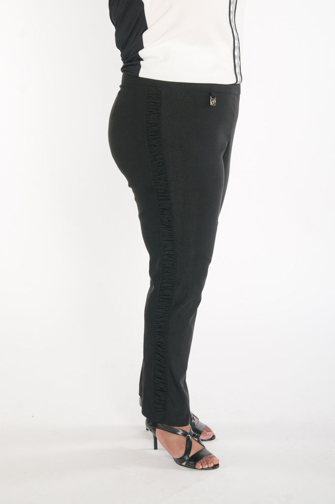 Black stretch slack with ruching detail