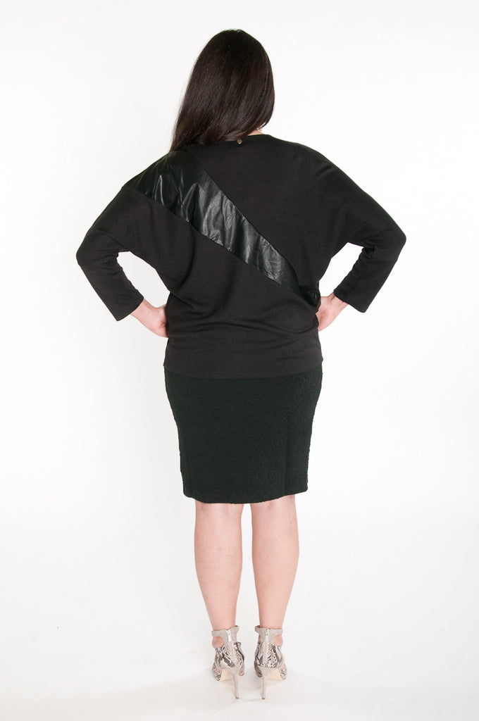 Black leather panel knit top