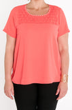 Coral pearl and texture neck top