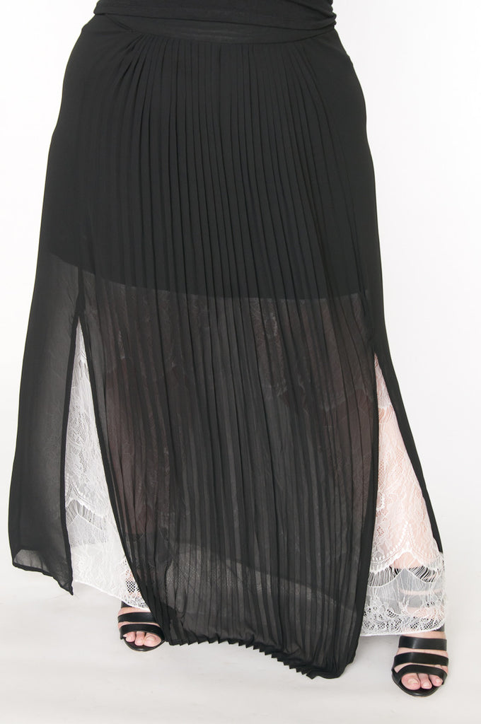 Black pleats and lace maxi skirt