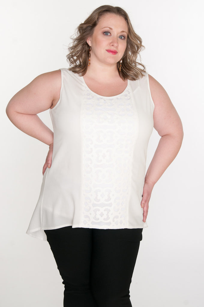 White laser cut panel insert tunic