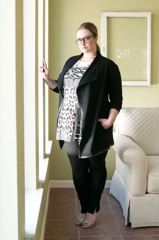 Black leather trim ponte jacket