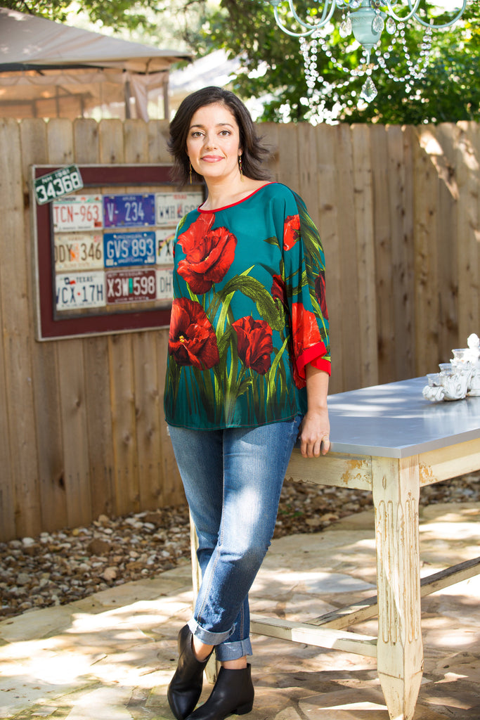 Emerald Poppy Blouse
