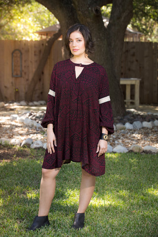 Burgundy Swing Dress