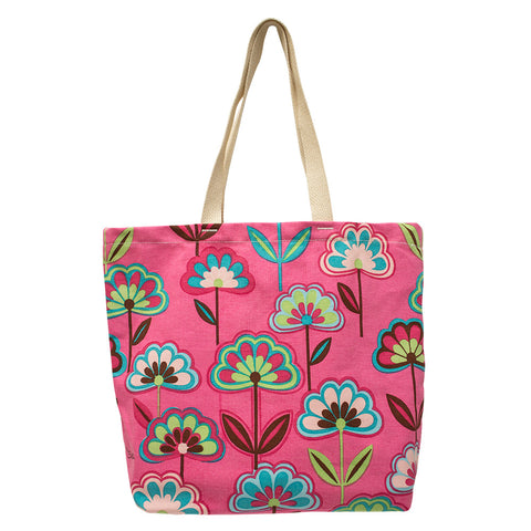 Pink Flowers Reusable Shopping Bag