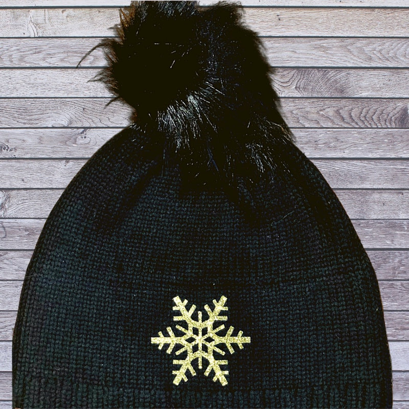 Snuxe Luxe GOLD SNOWFLAKE Black Beanie