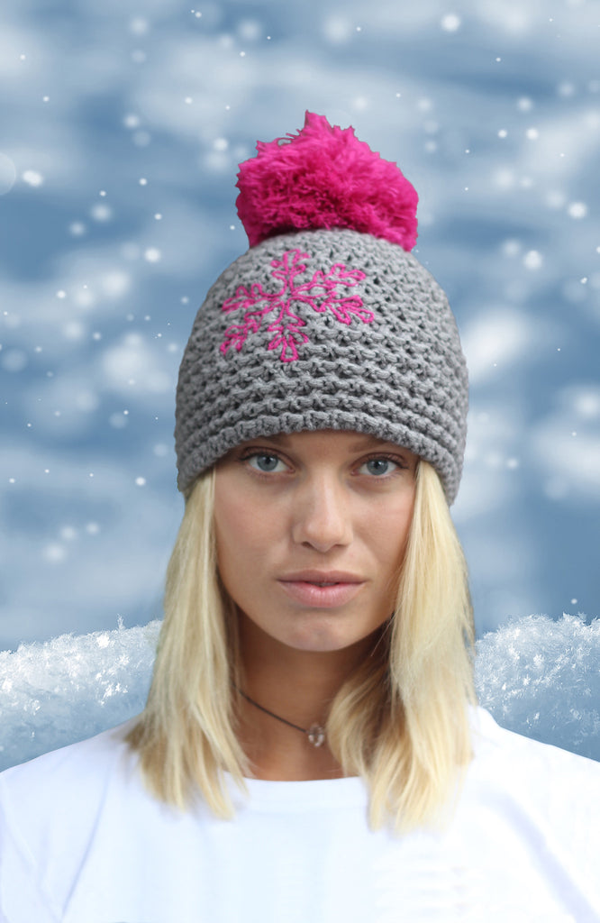 Grey Fleecy Lined Snowflake Beanie