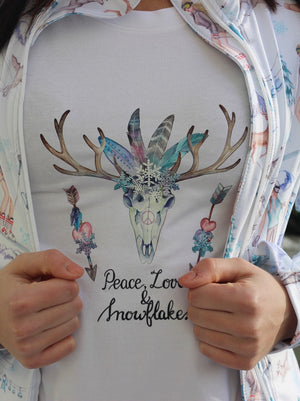 PEACE LOVE AND SNOWFLAKES Tee