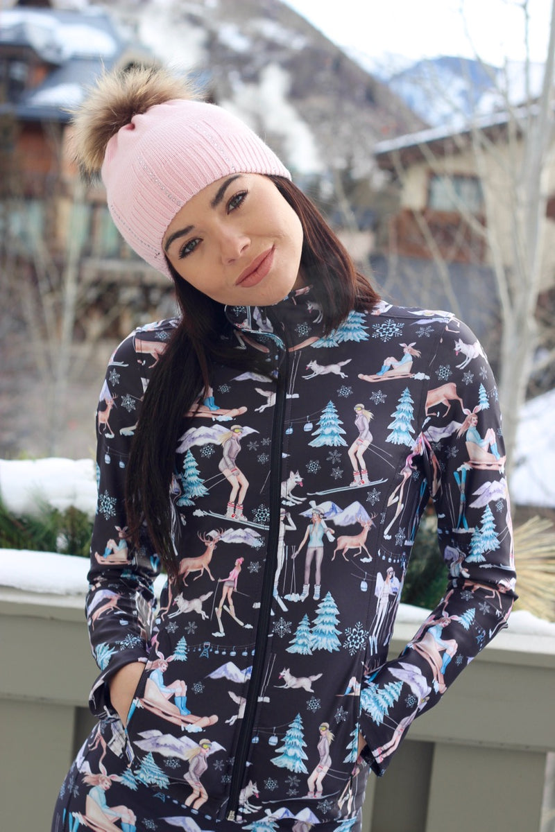 """SNOW FUN"" Sports Top in Black"