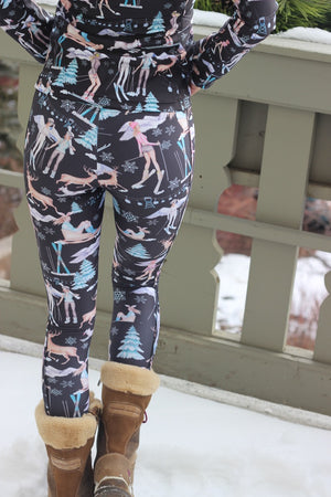 """SNOW FUN"" Performance Leggings - Black"
