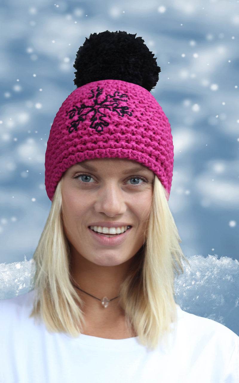 Pink Fleecy Lined Snowflake Beanie
