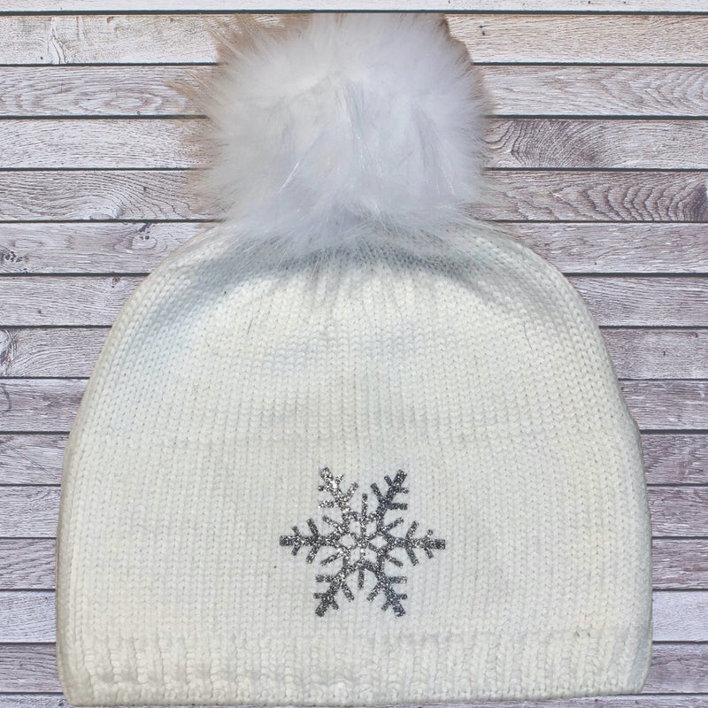 Snuxe Luxe SILVER SNOWFLAKE Creme Beanie
