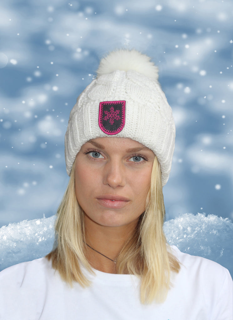 Cable Knit Foxy Beanie in Winter White