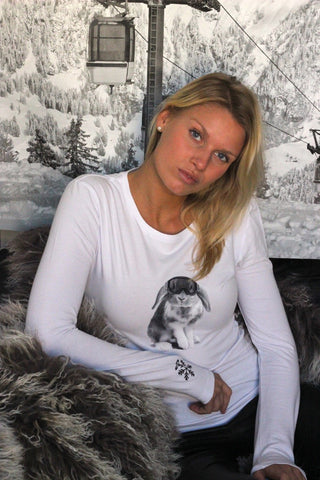 SnowBunny Long Sleeve Signature Tee White