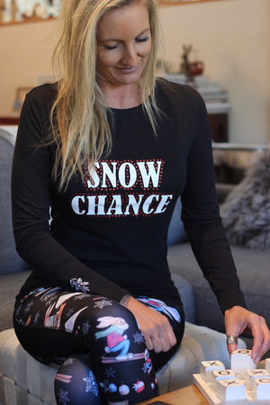 """Snow Chance"" - Long Sleeve Black Tee"