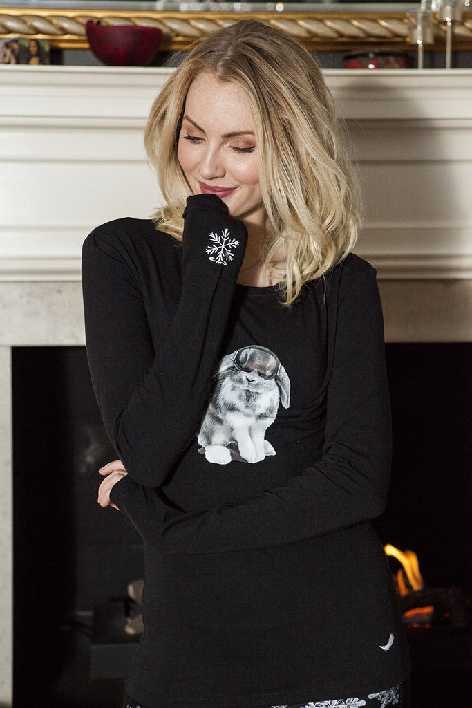 Snowbunny Long Sleeve Signature Tee Black