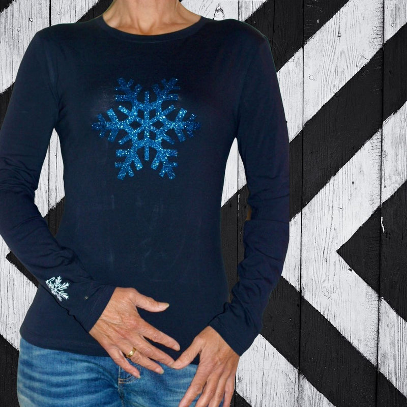 TRUE BLUE SNOWFLAKE Tee Black