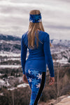 """Snow Camo"" Performance Leggings in Blue"